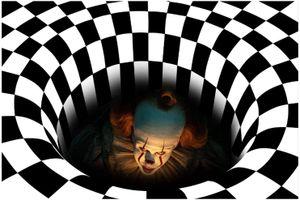 Halloween 3D Illusion Fußmatte, Vortex Illusion Teppich Bodenmatte Quadratischer Teppich 3D Visual Illusion Teppich Für Wohnzimmer, 3D Visual Vortex Optische Täuschungen Anti-Rutsch-Bodenmatte (50 * 80 cm)