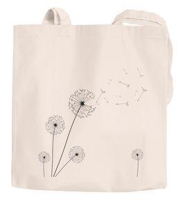 Jutebeutel Pusteblume Dandelion Baumwolltasche Stoffbeutel Einkaufstasche Autiga® natur 2 lange Henkel