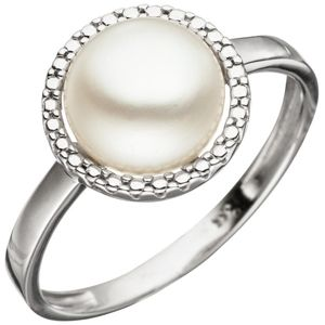 JOBO Damen Ring 50mm 333 Gold Weißgold 1 Süßwasser Perle Perlenring Weißgoldring