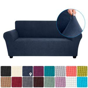 Stretch Sofa Schonbezug Elasthan Anti-Rutsch Soft Couch Sofabezug 2-Sitzer Waschbar für Wohnzimmer Kinder Haustiere (Dunkelblau)