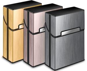3 Stück Zigarettenbox Metall mit Magnetverschluss, Zigarettenetui aus Alu, Verstärktem Kunststoffgehäuse & Einrast Funktion Für 20er Standard Schachteln (Grau, Rosa, Gold)