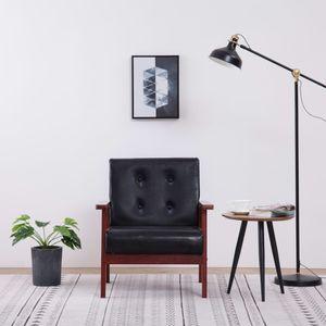 Retro-Sessel Schwarz Kunstleder 64,5 x 73,5 x 67 cm