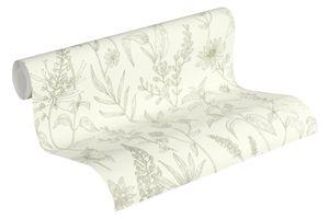 Jette Joop Blumentapete florale Tapete Vliestapete mit Glitzereffekt grün silber weiß 10,05 m x 0,53 m