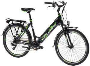 "26 Zoll e-CITY Ebike Elektrofahrrad E-Bike Modell e-City 1.14-S Crussis 2021 630Wh 17,5Ah Motor Bafang 250W Pedelec Rahmenhöhe 17""(43,2 cm) Schwarz/Grün"