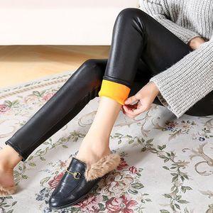 Damen Faux Kunstlederhose Winter Leggins gefüttert Hüfthoch Strumpfhose Hose XXL Schwarz Matt Kunstlederhosen Solide