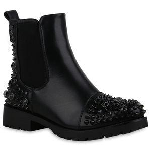 Mytrendshoe Damen Stiefeletten Chelsea Boots Blockabsatz Nieten Strass Schuhe 835420, Farbe: Schwarz, Größe: 38