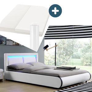 Juskys Polsterbett Murcia 140 x 200 cm Komplett-Set mit Matratze, Lattenrost, LED-Licht, Kopfteil - Kunstleder Bett - groß, massiv, modern & weiß