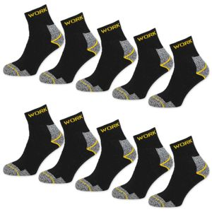 10 Paar Arbeitssocken Herren Kurzsocken Baumwolle WORK Socken - Schwarz/Grau Meliert 43-46