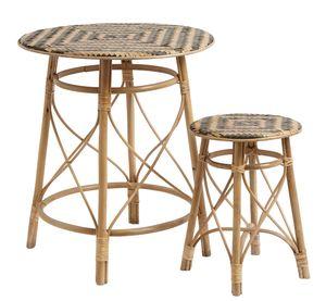 Nordal Beistelltisch Set bestehend aus 2 Tischen Rattan 65 cm hoch
