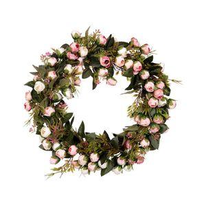 Künstliche Rosen Türkranz Wandkranz Dekokranz Hängender Kranz, Wiederverwendbar und Umweltfreundlich