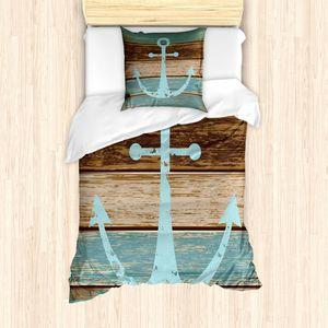 ABAKUHAUS Anker Bettbezug Set für Einzelbetten, Maritim Thema Holzplanken, Milbensicher Allergiker geeignet mit Kissenbezug, Hellblau Braun Teal