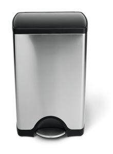 simplehuman 38 Liter rechteckig Treteimer, fingerabdrucksicherer Edelstahl  |Kunststoffdeckel - 8,2x8,2x43,4 cm; CW1950