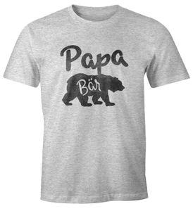 Papa Bär Shirt Herren T-Shirt Watercolor Bären Familie Moonworks® Papa grau-meliert L