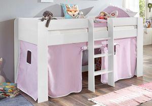 Hochbett ANDI 1 Kinderbett Spielbett halbhohes Bett Weiß Stoffset Lila/Weiß, Matratze:ohne
