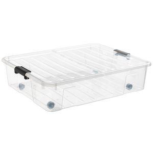Plast Team Unterbettkommode XL 49 Liter Bedroller Unterbettbox mit Rollen Aufbewahrungsbox