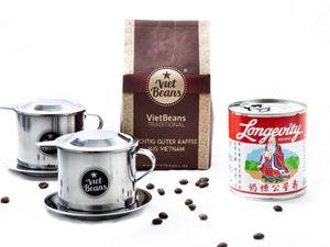 "VietBeans Vietnamesisches Kaffee Starterset ""Frühstück zu zweit"" - 250g gemahlener Traditional + 2 x Edelstahlfilter (Phin) + gez. Kondensmilch - Kaffeegeschenk"