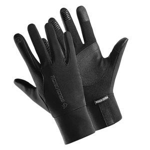 Winter Warme Sporthandschuhe Wasserdicht Radfahren Touchscreen Laufhandschuhe L Schwarz Touchscreen-Gel-Handschuhe Voller Finger