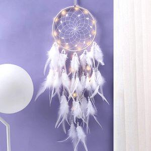 Traumfänger mit LED Licht, Handgemachte Dreamcatcher mit Federn, Maiden Zimmer Schlafzimmer Romantische Dekoration, für Wandbehang Wohnkultur Ornamente Handwerk