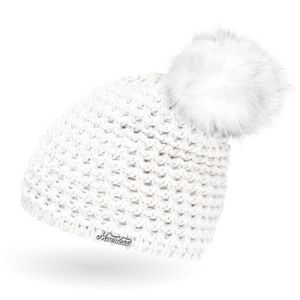 Damen Strickmütze gefüttert Fell-Bommel Kunstfell Winter-Mütze Bommelmütze Neverless®  unisize