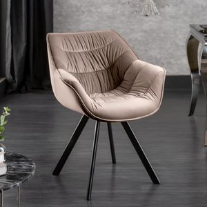 Design Stuhl THE DUTCH COMFORT samt champagner greige mit Armlehne Esszimmerstuhl Bürostuhl Konferenzstuhl