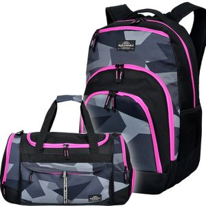 Keanu SET Rucksack Sporttasche Schulrucksack Adventure SET Geo Camo 33 L Schwarz Pink