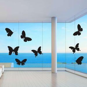 Fenster Aufkleber Fensterbild Vögel Warnvögel Schmetterlinge l Wintergarten Farbe schwarz