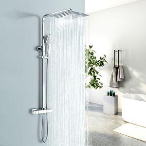 EMKE Edelstahl Duschsystem mit Thermostat, Regendusche Duschsäule Duscharmatur Brauseset, Kopfbrause und Handbrause aus Rostfreiem Stahl, Höhenverstellbar Duschstange