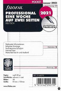 Filofax Kalendereinlage Pocket: Professional Eine Woche auf zwei Seiten 2021 deutsch