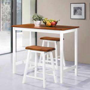 Esstisch mit 2 Stühlen Esszimmer Bartisch- und Hocker-Set 3-tlg. Massivholz