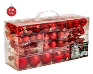 100 teiliges Set Lamettini Rot Weihnachtskugeln Spitze Lametta Anhänger