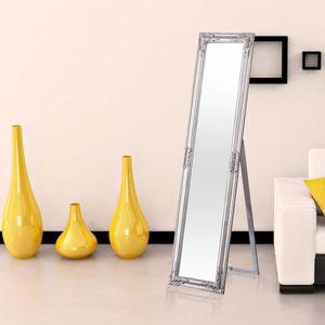 Garderobenspiegel Standspiegel OBAMA 160 x 40 cm Silber