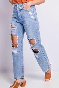 Damen Mom Jeans Destroyed Weite High-Waist Pants Boyfriend Denim Hose Risse Löcher Strass Kette Design, Farben:Blau, Größe:40