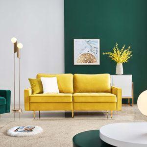 Tiema moderne 2-Sitzer-Sofa Klassische Sofas mit 2 dekorative Kissen Gelb Samt Stoff Breite 180cm