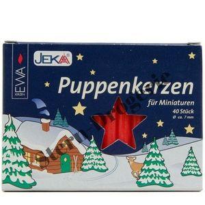 Puppenkerzen 7x70 mm rot 40 Stück im Pack - für Miniaturen