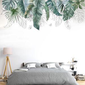 Wandtattoos, Nature Grüne Tropische Pflanze Blätter Wandaufkleber DIY Wandsticker Wanddekoration für Wohnzimmer Schlafzimmer Flur Kühlschrank 109 x 52 cm