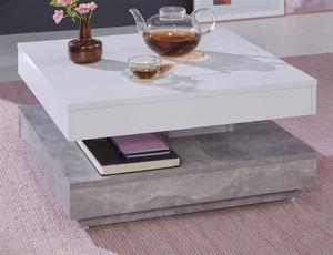 """Couchtisch in weiß und Stone Design grau """"movible"""" quadratisch Wohnzimmertisch drehbar mit Ablage 70 x 70 cm Betonoptik"""