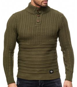 RUSTY NEAL Grobstrick-Pullover modischer Stehkragen-Sweater Herren Sweatshirt im Norweger Look Khaki, Größe:XXL