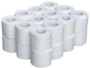 24x Toilettenpapier 3-lagig Großpackung 160 Blatt Klopapier Weiß WC-Papier Klorollen Toilettenpapierrollen Toilettenrollen