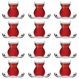 Pasabahce Dantel Türkische Teegläser Teeglas Set 24 teilig - 12 Personen Cay Bardagi