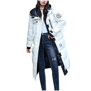 Damen Wintermode glänzend lange Over-The-Knee Kapuze dicke gepolsterte Jacke Mantel Größe:M,Farbe:Weiß