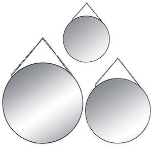Spiegel Dekospiegel an der Kette 3er Set rund mit schwarzem Rahmen verschiedene Größen Ø20/25/30 cm