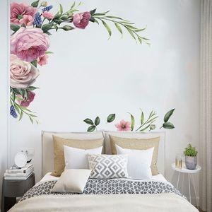 2 Stueck Pfingstrose Rose Blume Selbstklebende Wandaufkleber