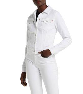 LTB Dean X Jeans-Jacke stylische Damen Frühlings-Jacke mit Knopfleiste Weiß, Größe:XL