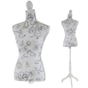 Schneiderpuppe T223, Schaufensterpuppe Torso weiblich, Fiberglas  Weiß mit Blumen