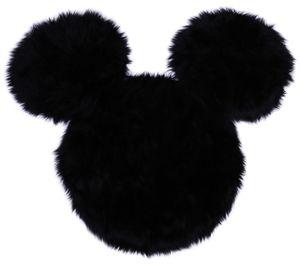 Schwarzer, flauschiger Teppich Mickey Mouse Disney