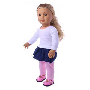 3pcs Puppenkleidung Set, langärmeliges T-Shirt + Minirock + Leggings, Anzug für 18\'\'  Puppen