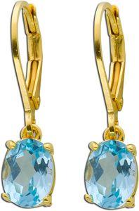 Ohrhänger Blautopas Sterling Silber 925 gelb vergoldet