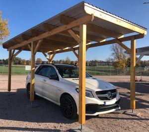 Einzelcarport Natur 359 x 606 cm Carport Bausatz Holz Flachdach inkl Stützenfüße
