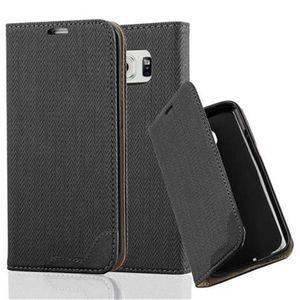 Cadorabo Hülle für Samsung Galaxy S6 EDGE - Hülle in EBENHOLZ SCHWARZ - Handyhülle in Bast-Optik mit Kartenfach und Standfunktion - Case Cover Schutzhülle Etui Tasche Book Klapp Style