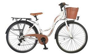 24 Zoll Kinder City Mädchen Fahrrad Kinderfahrrad Mädchenfahrrad Cityfahrrad Rad Bike SHIMANO 21 GANG STVO Beleuchtung STVO FANTASIA Lady WEIß Braun TY2021